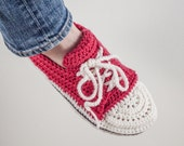 Crochet Sneakers slippers, US women sizes 5/6, 7/8 and 9/10