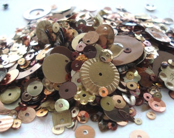 Pack of Bronze Colours Mixed Sequins 10g Pack Brown Gold Sequins BD5