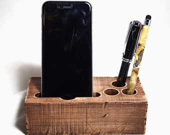 Rustic iPhone 7 or 7 Plus dock charging stand smartphone dock samsung galaxy dock charging stand pen holder iPhone 6s or 6s plus rustic dock