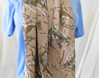 Scarf, Scowl, Handmade Satin Silk from polyester , beautiful horse heads fabric print