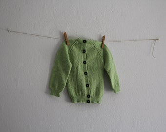 Vintage Baby Knitwear Wool Toddler Jacket Knitted Baby Cozy Handmade Kids Fall Winter Clothing Green Blouse
