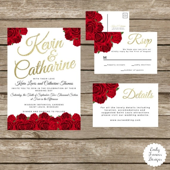 Wedding Invitations With Red Roses: Red Rose Wedding Invitation Suite Red Black And Gold Red