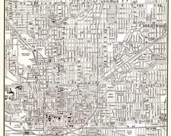 Indianapolis Indiana Map, Vintage 1940's Original US City Map Rand McNally, Detailed Black and White Wall Decor