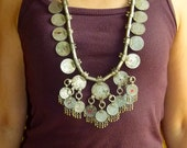 Vtg 70's 80's Old India Banjara Rajasthan Ethnic tribal gypsy belly dance dangle silver coin tassels statement necklace