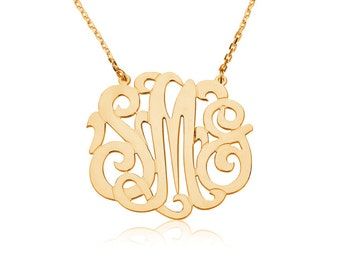 Monogram necklace -Initial Necklace Personalized Monogram - 925 Sterling silver 18k Gold Plated