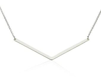 Chevron Necklace Bar Necklace Arrow Necklace- 925 Sterling Silver