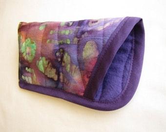 Purple Glasses Case - Quilted Batik Eye Glasses Case - Purple Batik