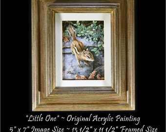 Wildlife Paintings - Chipmunk Original Painting - Original Wildlife Painting - Original Acrylic Painting - Chipmunk Painting