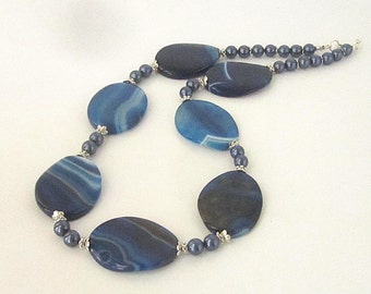 Blue Agate Necklace, Chunky Gemstone Necklace, Natural Stone Jewellery, Statement Gemstone Jewellery, 925 Sterling Silver