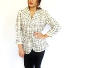 50% OFF LIQUIDATION SALE vintage plaid olive green 70's retro vintage blazer top - medium - large