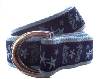 Nautical Belt/ Ribbon Belt/ Woman's Belt/ Men's Belt/ Canvas Belt/ Preppy Belt/ D-Ring Belt/ Military Belt/ Seahorse and Starfish
