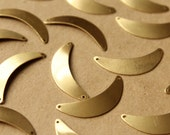 10 pc. Raw Brass Rounded Crescent Connectors: 33mm by 8mm - made in USA | RB-630