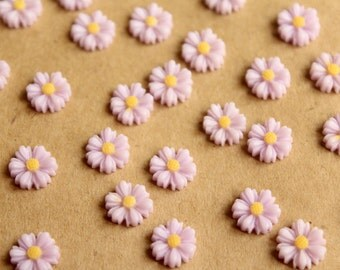 20 pc. Pale Lavender Two-Tone Daisy Flower Cabochons 9mm | RES-598