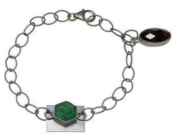 Black Onyx & Oxidized Silver Bracelet