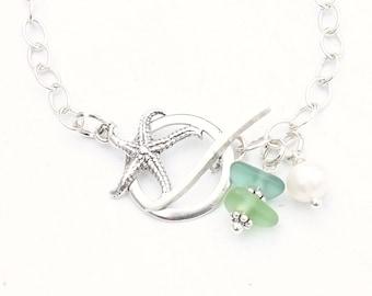 "Starfish ""Sea Glass Bracelet"", Beach Glass Jewelry, Sterling Silver Starfish Charm Bracelet, Ombre Seaglass Toggle Bracelet, Beach Gifts"