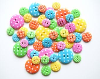 Bright Polka Dot Button Collection [B0753]