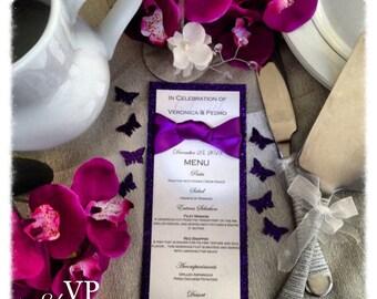 Wedding Menus, glitter wedding menu, purple glitter menu with knotted ribbon