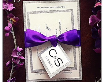 Wedding Invitation, Silver Glitter Wedding Invitation with purple ribbon and RSVP card