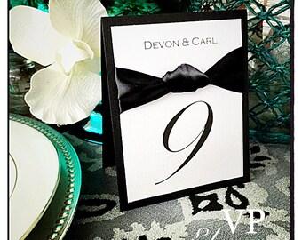Black tie wedding table numbers, black tie event table numbers, wedding table numbers