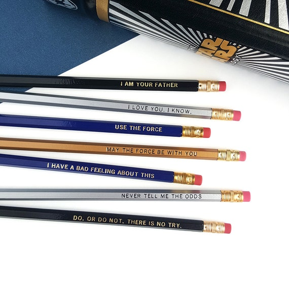 Star Wars Pencil Set — 7 Engraved Pencils, Luke, I am your father, I love you, I know, Use the force, I have a bad feeling about this