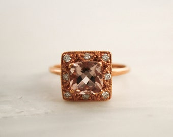 1.50 Cts. Champagne Peach Cushion Morganite Halo Diamond Ring 14K Rose Gold