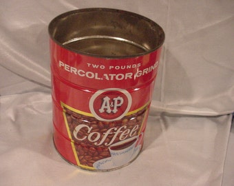 Advertising Tin Vintage A&P Coffee 2 Pound Can, Great Graphic, Clean
