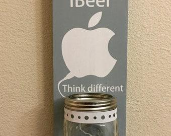 iBeer Apple Bottle Opener with Mason Jar Rustic iBeer