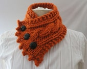 Fishermans Wife Cowl,  Cable Knit Cowl, Chunky Knit Cowl, Women's Cowl, Knitted Cowl, Color Pumpkin
