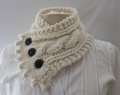 Fishermans Wife Cowl,  Windbreaker, Cable Knit Cowl, Chunky Knit Cowl, Knitted Cowl, Cable Knit Scarf, Color Off-White