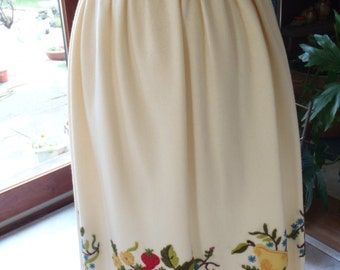 MINT Condition Handmade Applique and Crewel Embroidery Wool Skirt