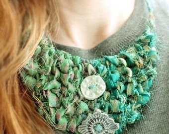 Fabric Bib Necklace, Eco Friendly Jewelry, Fabric Necklace, Recycled Jewelry, Sustainable Fashion