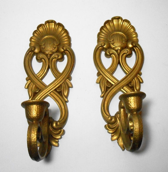Vintage Candle Holders Sconces Gold Ornate Wall Sconce