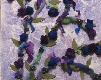 Wild Blueberries Mixed Media Textile & Beads on Painted Canvas