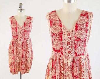 Vintage 90s Tribal Print Mini Dress - Sleeveless Red Babydoll Summer Dress - Floral Seapunk Dress - Size S Small