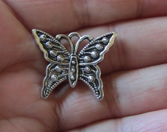 5 Butterfly Charms -Antique Silver Tone - 21mm x 25mm - DIY Jewelry Charm