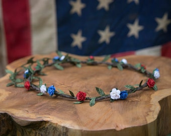 RED, WHITE & BLUE Boho Flower Crown ... Festivals, 4th of July, Parties, Weddings