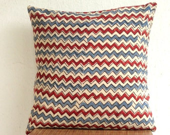 Chevron Stripes Indigo and Red Block Print Pillow cover, throw pillow, Block print Chevron print pillow cover