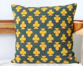 Green and Yellow Block Print pillow cover, Floral Print Pillow cover, Dark Green Cushion cover