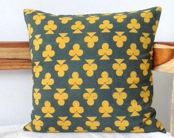 Green and Yellow Block Print pillow cover, Floral Print Pillow cover, Dark Green Cushion cover, Clubs print Pillow
