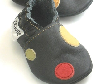 soft sole baby shoes infant handmade boy yellow olive red circle black 18 24 m chaussons bebe cuir souple Krabbelschuhe ebooba CR-14-B-T-4