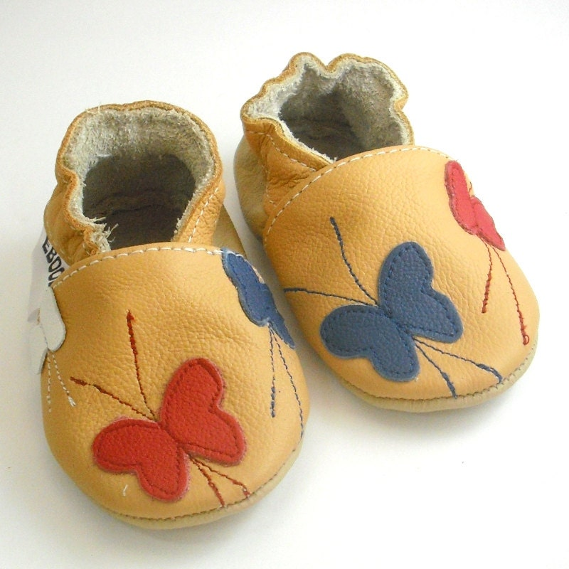 soft sole baby shoes infant handmade blue red white butterfly