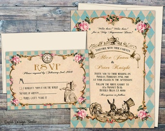fairytale wedding invitations printed wedding invitation set handmade alice in wonderland invitations Mad hatter tea wedding invitations