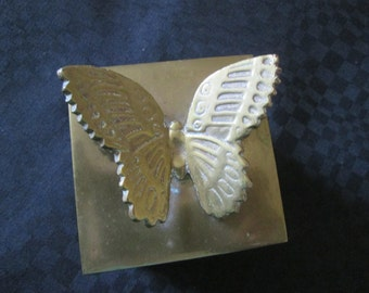 Vintage box square brass with butterfly on top