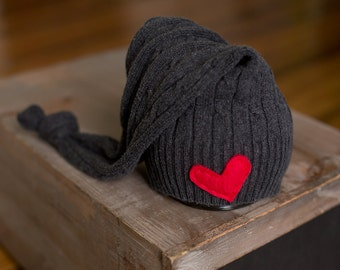 Upcycled Newborn Hat Grey Stocking Cap with Red Heart Elf Hat READY TO SHIP Photography Prop