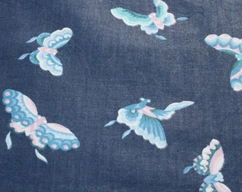 Vintage Blue Butterfly Cotton Fabric, Screen Print VAT Dye Scotch Guard Waverly, Sewing Quilt Material, Quilting Fabric 1 yard