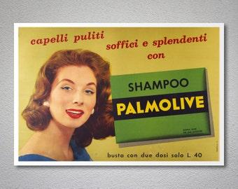 Palmolive Shampoo Vintage Poster - Poster Paper, Sticker or Canvas Print