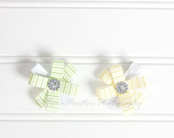 ON SALE Flower Hair Clips, Yellow and Green Stripes- Set of 2 -SHIPS Free!