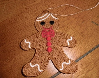 Embroidered Ornament - Christmas - Gingerbread Boy - Small