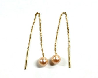 14k Gold Pearl Thread Earrings