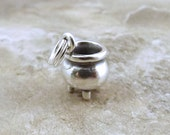 Sterling Silver Witches Cauldron Charm on Sterling Silver Split Ring - 2319
